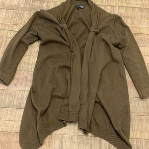 Olive green open laptop sweater / cardigan